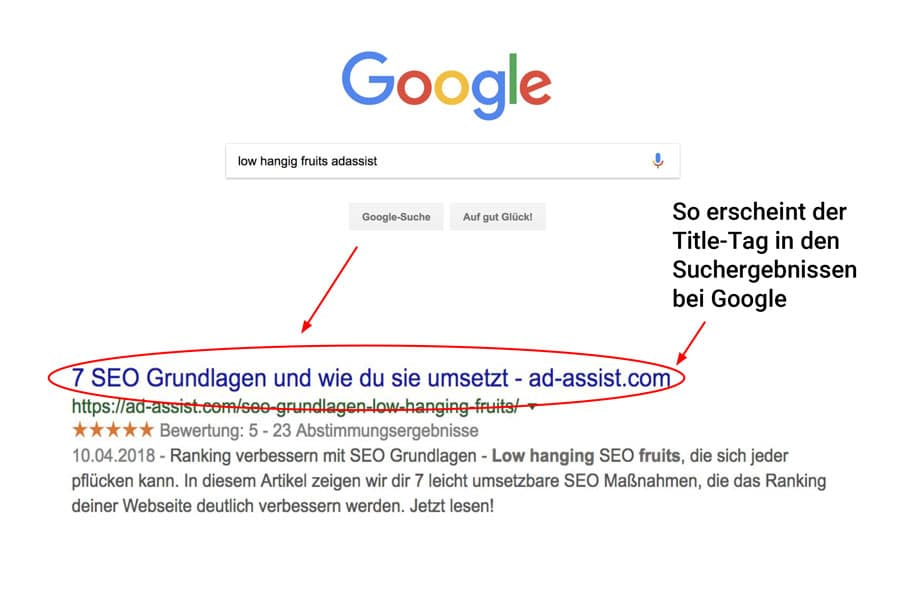 Google Suche mit Pfeil auf Title-Tag